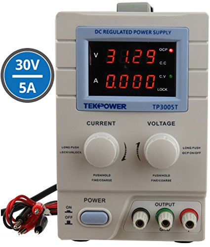 Tekpower TP3005T Variable Linear DC Power Supply, 0-30V @ 0-5A with Alligator Test Leads ()