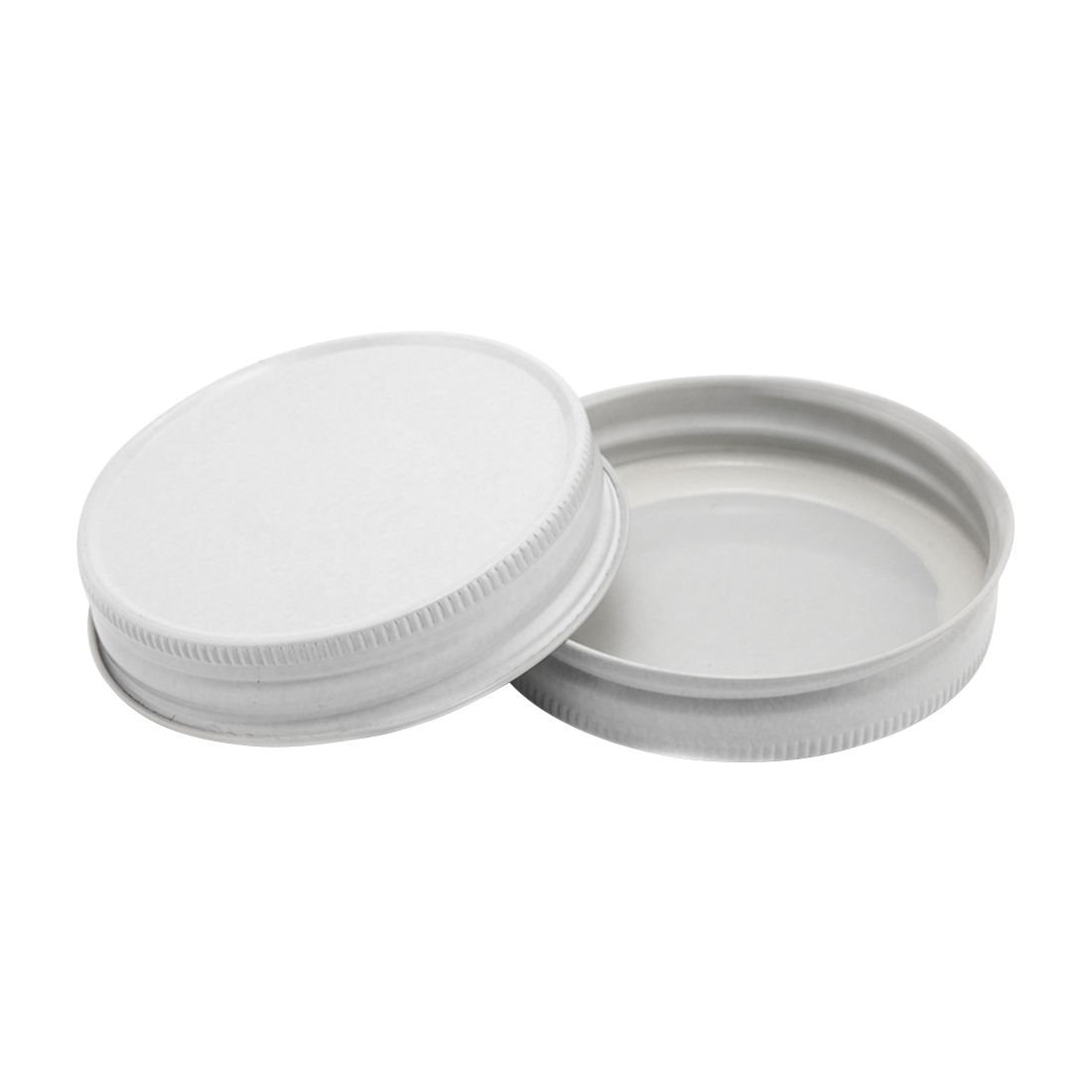 North Mountain Supply Regular Mouth Metal One Piece Mason Jar Safety Button Lids (Pack of 72, White Hi-Heat)