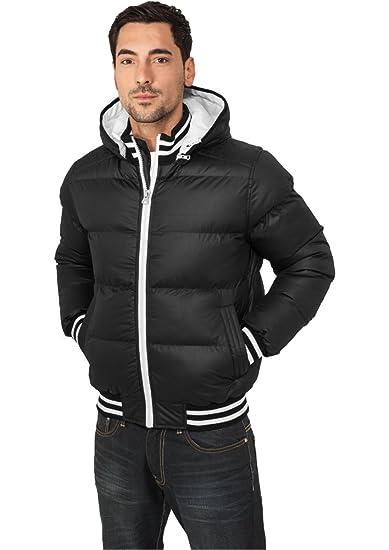 6ac7eec3723 Urban Classic Men s TB431 Shiney 2-tone Hooded College Puffer Jacket   Amazon.co.uk  Clothing