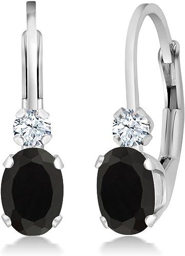 Black Onyx Petite Ellipse 925 Sterling Silver Earrings
