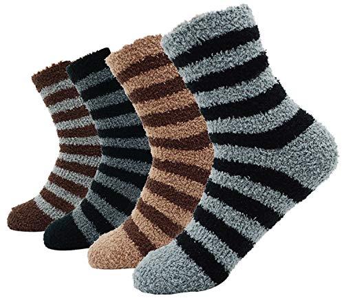 Men's Comfort Crew Sock 4 Pack Casual Floor Socks, Multi Color_style 3 - Fleece Socks Men