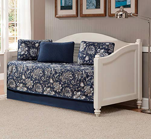 Better Home Style 5 Piece Daybed Navy Dark Blue Luxury Lush Soft Floral Flowers Paisley Printed Design Coverlet Bedspread Bed Cover Quilt Set # 8842 (Daybed)