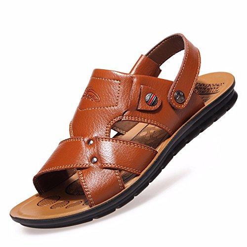 estate Il nuovo vera pelle sandali Uomini Tempo libero scarpa vera pelle Spiaggia scarpa Uomini sandali Antiscivolo ,giallo,US=9,UK=8.5,EU=42 2/3,CN=44
