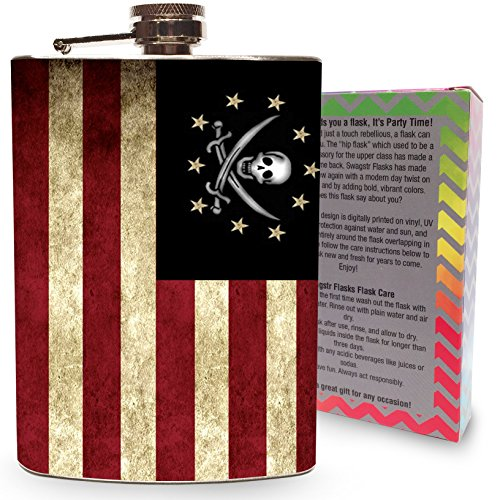 8oz Blue Stainless Steel Alcohol Drink Liquor Whisky Hip Flasks - 6