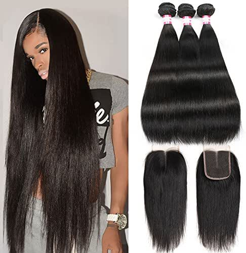 CYNOSURE Brazilian Virgin Hair Straight 3 Bundles with Closure 4x4 Middle Part Human Hair Bundles with Closure Natural Black (22 24 26+20 inch closure)