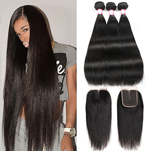 CYNOSURE Brazilian Virgin Hair Straight with Closure 4x4 Middle Part Brazilian Straight Human Hair Bundles with Closure Natural Black(16 18 20+14inch closure) (16 Straight Teeth)