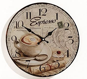 Wanduhr aus Glas INKLUSIV Batterie - Motiv: Espresso Kaffee Cafe ...