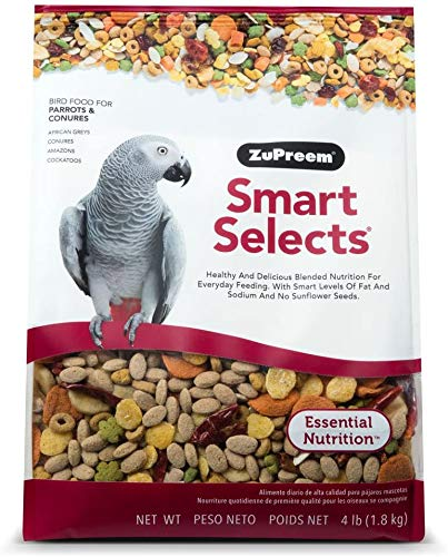 ZuPreem Smart Selects Everyday Feeding Bird Food for Parrots & Conures, 4 lb Bag | Made in USA for Caiques, African Greys, Senegals, Amazons, Eclectus, Small Cockatoos