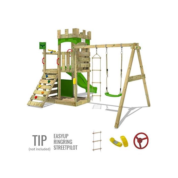 51EkwweJ18L FATMOOSE Torre de escalada con columpio y plataforma de juego grande - Calidad-y- seguridad verificadas Madera maciza impregnada en clave, de fácil mantenimiento - Viga de columpio de 9x9cm y postes verticales de 7x7cm Instrucciones de montaje detalladas para un montaje fácil - 10 años de garantía* para todos los elementos de madera