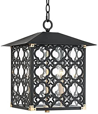 "Perlita 13"" Wide Black Outdoor Pendant Light"