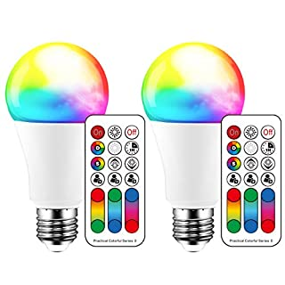 Color Changing LED Light Bulb A19 E26 Screw, 120 Colors 10W Dimmable Warm White 2700K RGB LED Light Bulbs with Remote Control, 70 Watt Equivalent (Pack of 2)