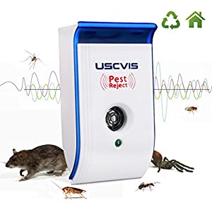 USCVIS Ultrasonic Pest Repeller, Electronic Pest Control, Plug In Pest Reject for Mice, Mosquitoes, Ant, Spiders, Roaches, Bugs and Flies, Non-toxic Eco-Friendly, Humans & Pets Safe