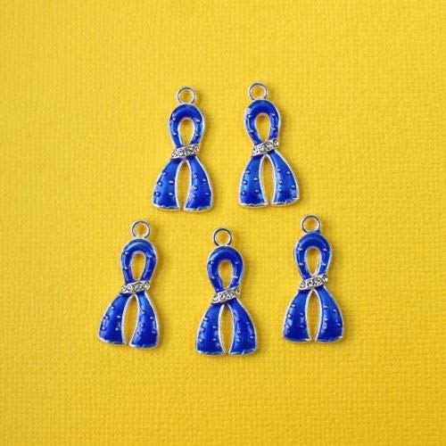 Jewelry Making 5 Blue Ribbon Charms Silverplated Enamel with Inset Rhinestones E281 Perfect for Pendants, Earrings, Zipper pulls, Bookmarks and Key Chains