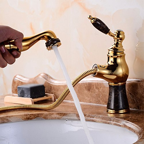 SCLOTHS Bathroom Basin Sink Mixer Tap Faucet Modern Copper Retro Style gold Basin Hot and Cold Pull Out