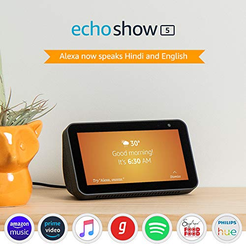 Introducing Echo Show 5 – Smart display with Alexa – 5.5″ screen & crisp sound (Black)