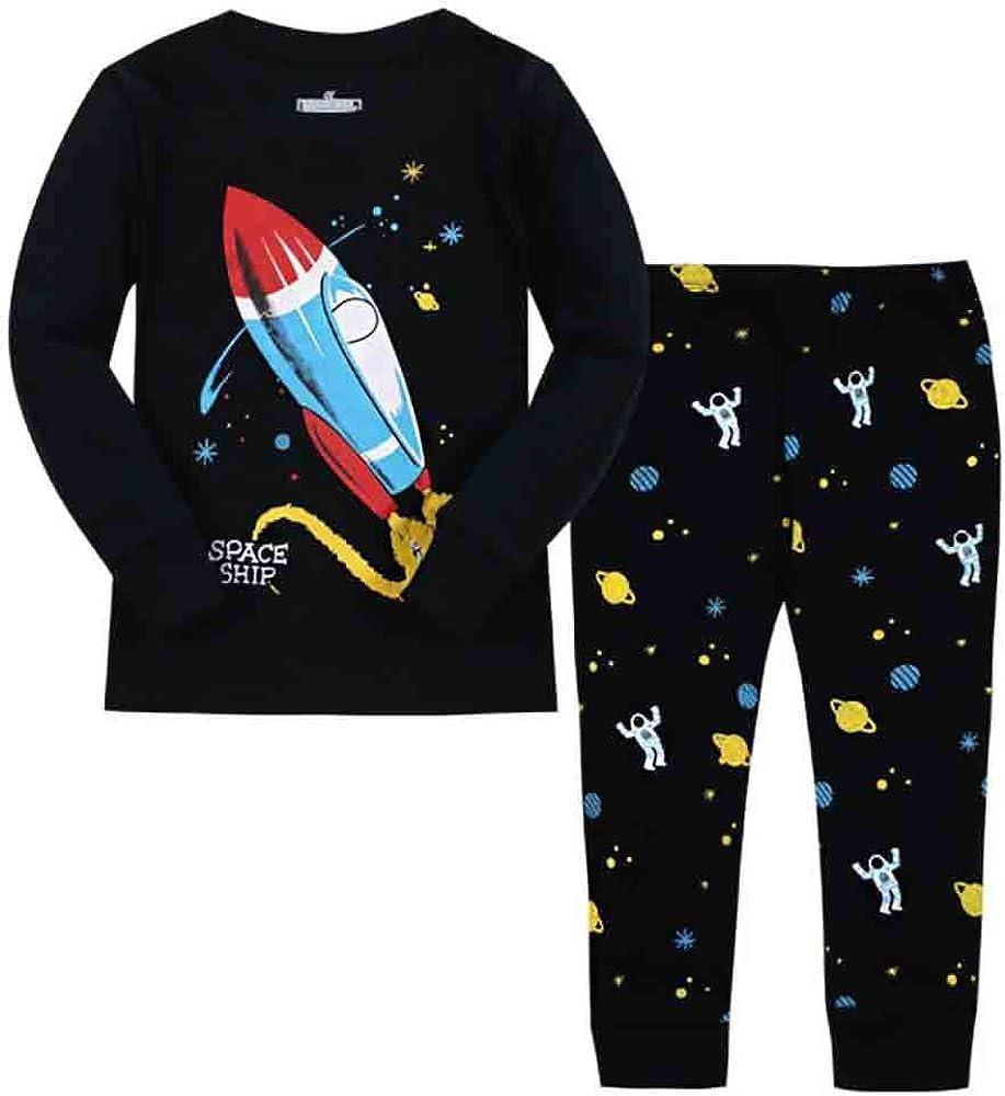 Boys Summer Pyjamas Sets Nightwear Cotton Toddler Clothes Kids Astronaut Shark Space Sleepwear Short Sleeve Pjs 2 Piece Outfit Xmas Gift