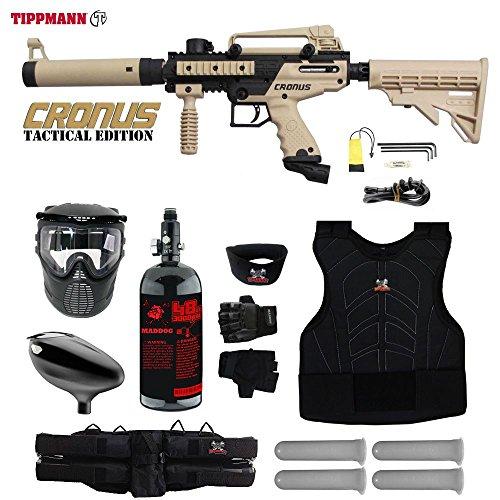 MAddog Tippmann Cronus Tactical Starter Protective HPA Paintball Gun Package - Black/Tan