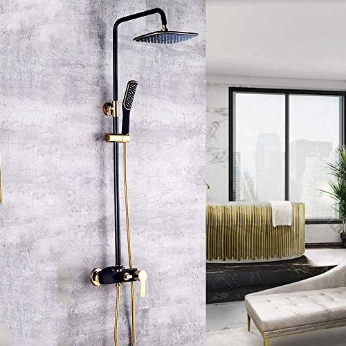 バスルームシャワーセット真鍮ブラックゴールドスクエアトップスプレー360度;回転ハンドシャワーシステム3機能加圧蛇口ノズル価格の上昇の熱く、冷水の浴室の供給
