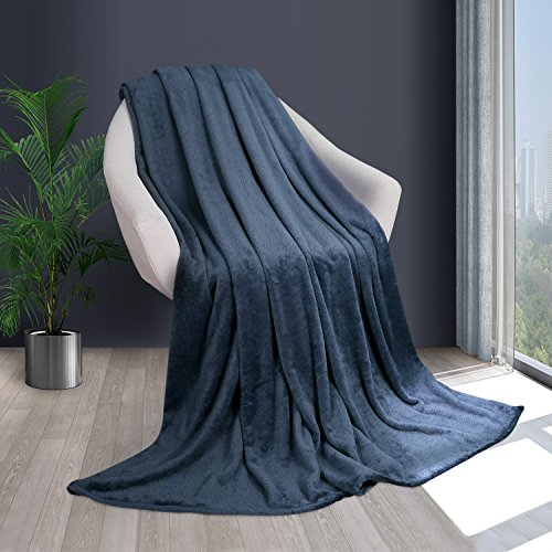 HOMFY Super Soft Bed Blanket Queen, Luxury Lightweight Throw Blanket for Bed, Sofa and Couch, Not Fade or Shrink - Blue