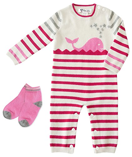 Gia John Cashmere Baby Layette and Socks Sets Romper Long Sleeve Cashmere Pink 3-6M 6-12M (3-6M) (Cashmere Layette)