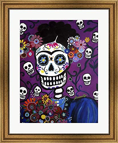 Frida Amor by Prisarts Framed Art Print Wall Picture, Wide Gold Frame, 25 x 30 inches -