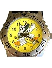 """Mighty Ducks"" Collectible Retro Kids Sports Theme Watch with Colorful ""Wild Wing"" Dial and Wide Black Nylon Band"