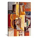 Museum quality Violin & Guitar By Picasso Canvas Print. The art piece comes gallery wrapped, ready for wall hanging with no additional framing required. This print is also available in multi-piece or oversized formats, perfect for decorating larg...
