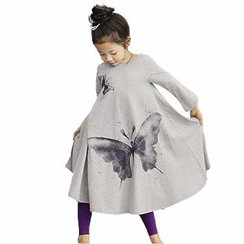 Remoción bestoppen bebé niñas vestido de princesa de, diseño de manga larga Mariposa Impreso Swing