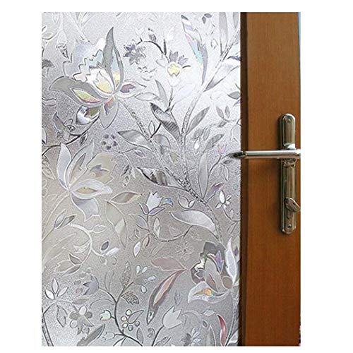 Becry Plastic Static Cling Decorative Stained Window Glass Film Home Office Bathroom Sliding Door Frosted Privacy Window Covering Film,35.5-by-78.7 Inches(90 x 200CM)