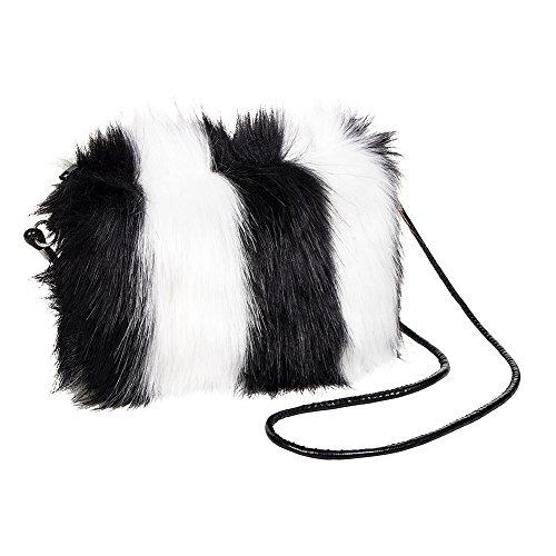 Blue Banana Faux Fur Small Clutch Bag (White/Black)