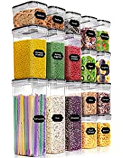 PRAKI Airtight Food Storage Containers Set - Kitchen & Pantry Organization, 17 PC Cereal Containers with Lids - BPA-Free - Plastic Canisters with Durable Lids Ideal for Cereal, Flour & Sugar, Black