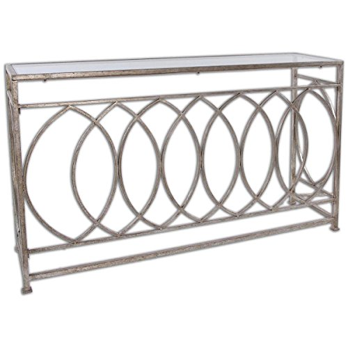 Uttermost 24306 Aniya Glass Top Console Table, Silver