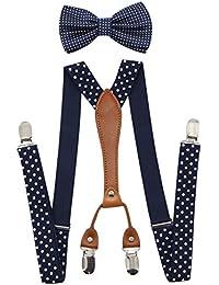 Suspenders & Bowtie Set- Men's Elastic X Band Suspenders + Bowtie For Wedding, Formal Events
