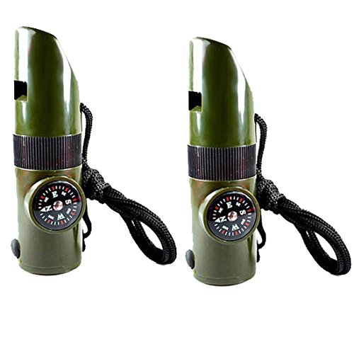 7 in1 Multifunction Camping Survival Compass with Whistle Thermometer Magnifier LED Flashlight Fire 2 PCS by Anfukone