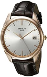 Tissot Men's 'T Gold' Swiss Quartz Stainless Steel and Leather Dress Watch, Color:Brown (Model: T9204107603100)
