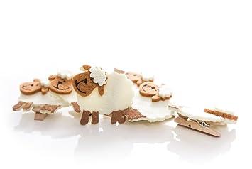 Bürobedarf klammern  6 Stück witzige braun beige Schafe Oster-Klammern Zierklammern ...