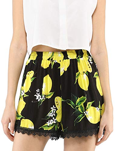 Allegra K Women's Shorts Allover Floral Printed Lace Trim Hem Elastic Waist Beach Shorts Black-bigLemon L (US 14)