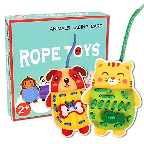 (Sealive Wooden Animals Lacing Cards for Toddlers, 5 Wooden Panels and 5 Matching Laces, Zoo Animal Lace and Trace Activity Set, Montessori Toys Sewing Cards for Kids)