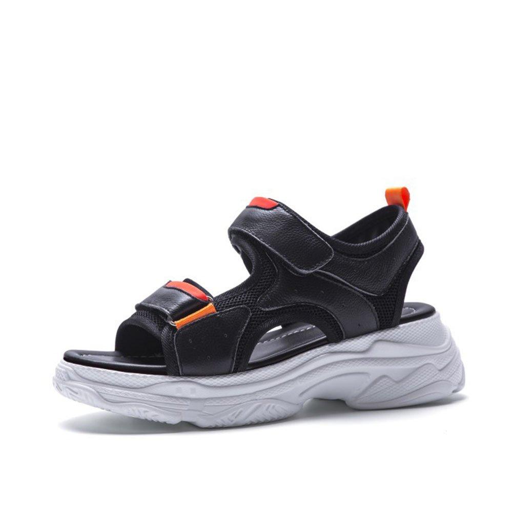 Damenschuhe 2018 Hot Summer Sandalen Casual Muffin Heel Flatform Mauml;dchen Schuhe Leder Stitch Velcro Sandalen Damen Sandalen (Color : Black, Grouml;szlig;e : 42)  42|Black