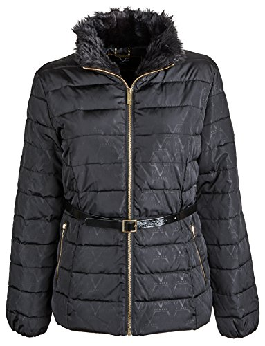 Versace 19.69 Women's Down Blend Quilted Warm Puffer Coat with Hood - Black (Size - Womens Clothing Versace