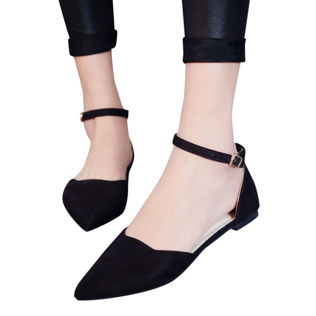 2019 New Women's Elegant Flock Sandals Buckle Strap Low Heels Shoes Pumps Pointed Toe Heels Solid Sandals Evening Shoes Hot (Black, US:5.5)