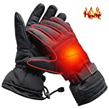 Men Electric Heated Gloves Windproof Winter Gloves 3.7V Rechargeable Battery Operated Heated Gloves for Men Women Perfect for Indoor Outdoor Activities Fishing/Hiking/Sleeping(Black-with Button)