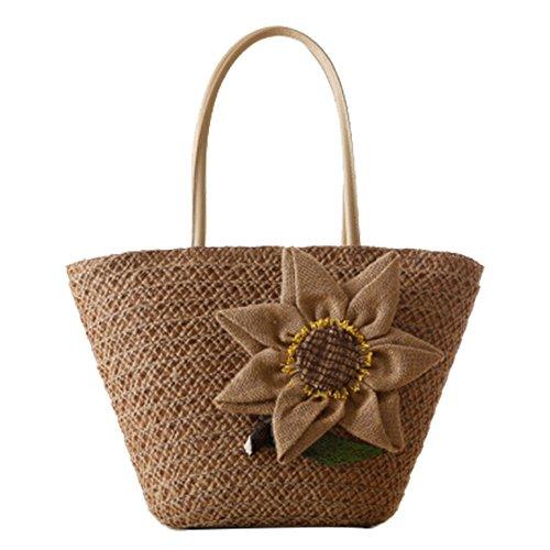 fairysan tessuto paglia spiaggia Borse Casual Borse Borsa A Tracolla Borse all uncinetto con fiori di lino
