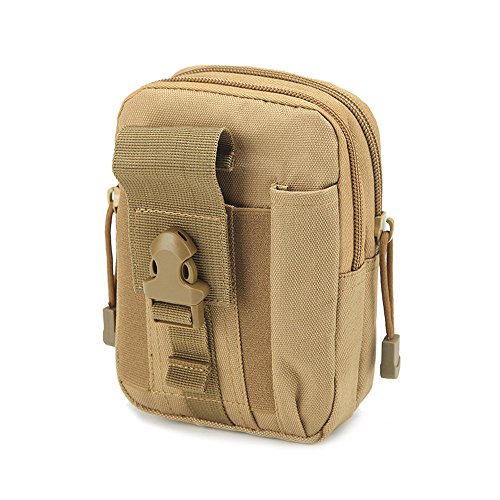 Botrong Camping Climbing Outdoor Phone Canvas Bag Waist Hip Belt Wallet Purse Case Pouch for Men and Women (Khaki)