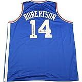 Oscar Robertson Signed Royals Blue Jersey W/ Mr Triple Double Insc Psa/dna