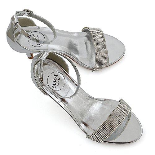 ESSEX GLAM Mujer Tacón Bajo Estilete Peep Toe Diamante Sintético Sandalia Plata Metálico