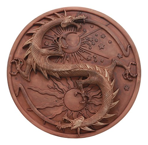 Ebros Maxine Miller Double Dragon Alchemy in Robust Yin Yang Astrology Wall Decor Round Shield Plaque Brand change to Ebros Gift