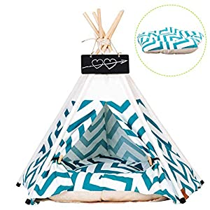 Arkmiido Pet Tent for Dogs Puppy Cat Bed White Canvas Dog Cute House Pet Teepee with Cushion 24inch Indoor Outdoor