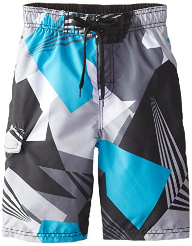 Kanu Surf Little Boys' Line Up Quick Dry Beach Swim Trunk, Vertigo Black, Large (7) (Boys Swim Trunks Size 7)