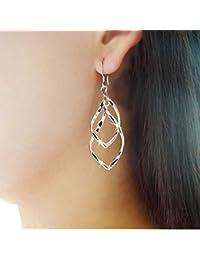 Shensee Vogue Female Alloy Plated Stud Dangle Earings Eardrop Jewelry Silver